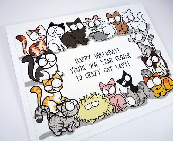 Crazy Cat Lady Geburtstagsgefuhl Grusskarte Von Oldupdesign Redbubble