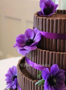 Purple Anemones On Wedding Cake To Fit With Cadburys Theme