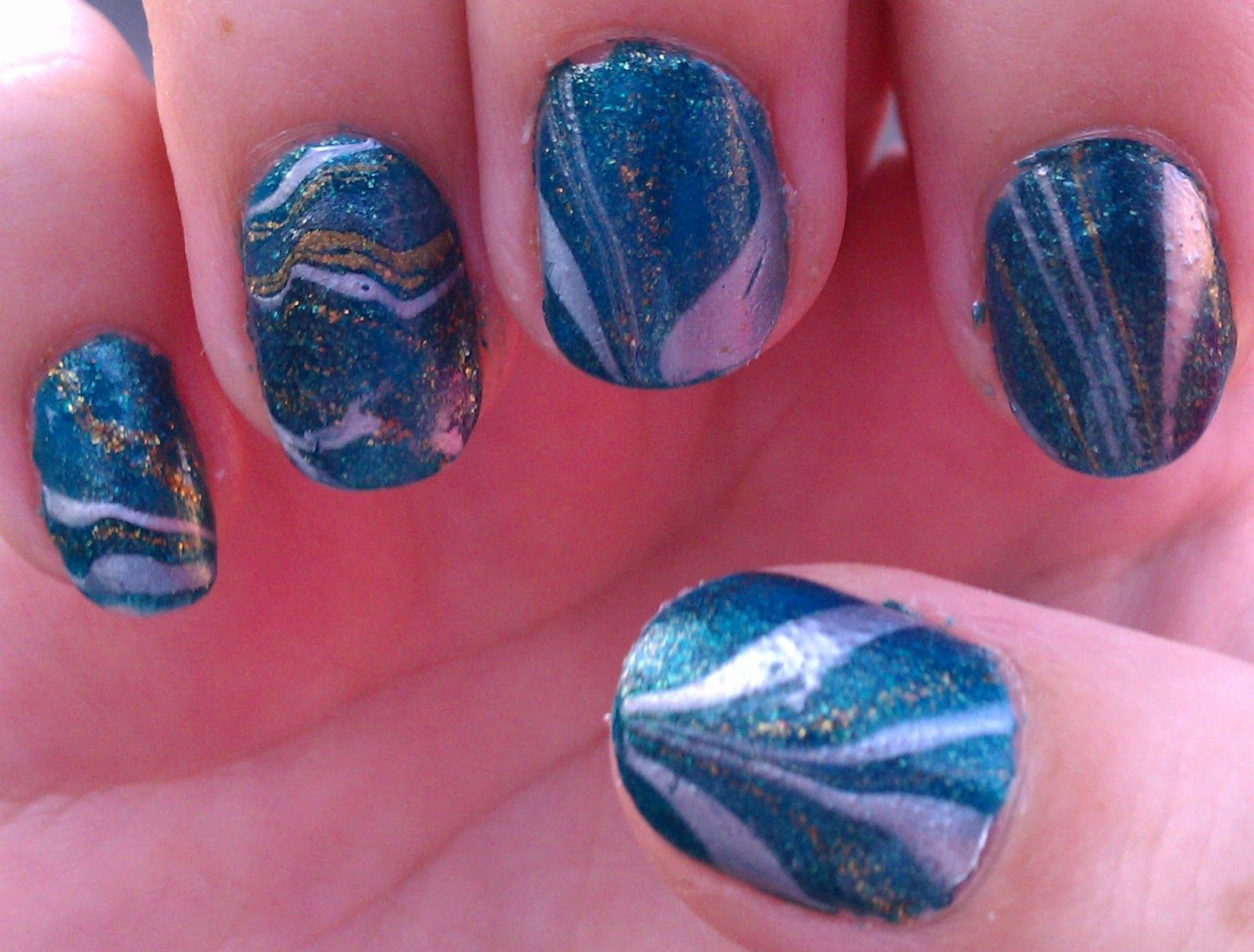 The Sparkle Queen Water Marble Nail Art Nails Oh My