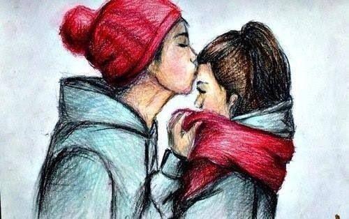 cute #draw #couple #kiss