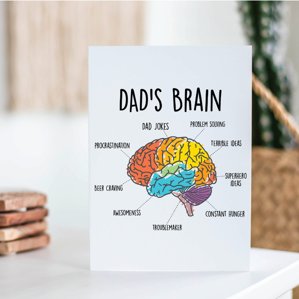 Dad S Brain Funny Father S Day Card Funny Card For Dad Dad Jokes Dad Birthday Gift Gifts For Dad Dad Gifts Christmas Gift For Dad In 2021 Funny Fathers Day Card Diy