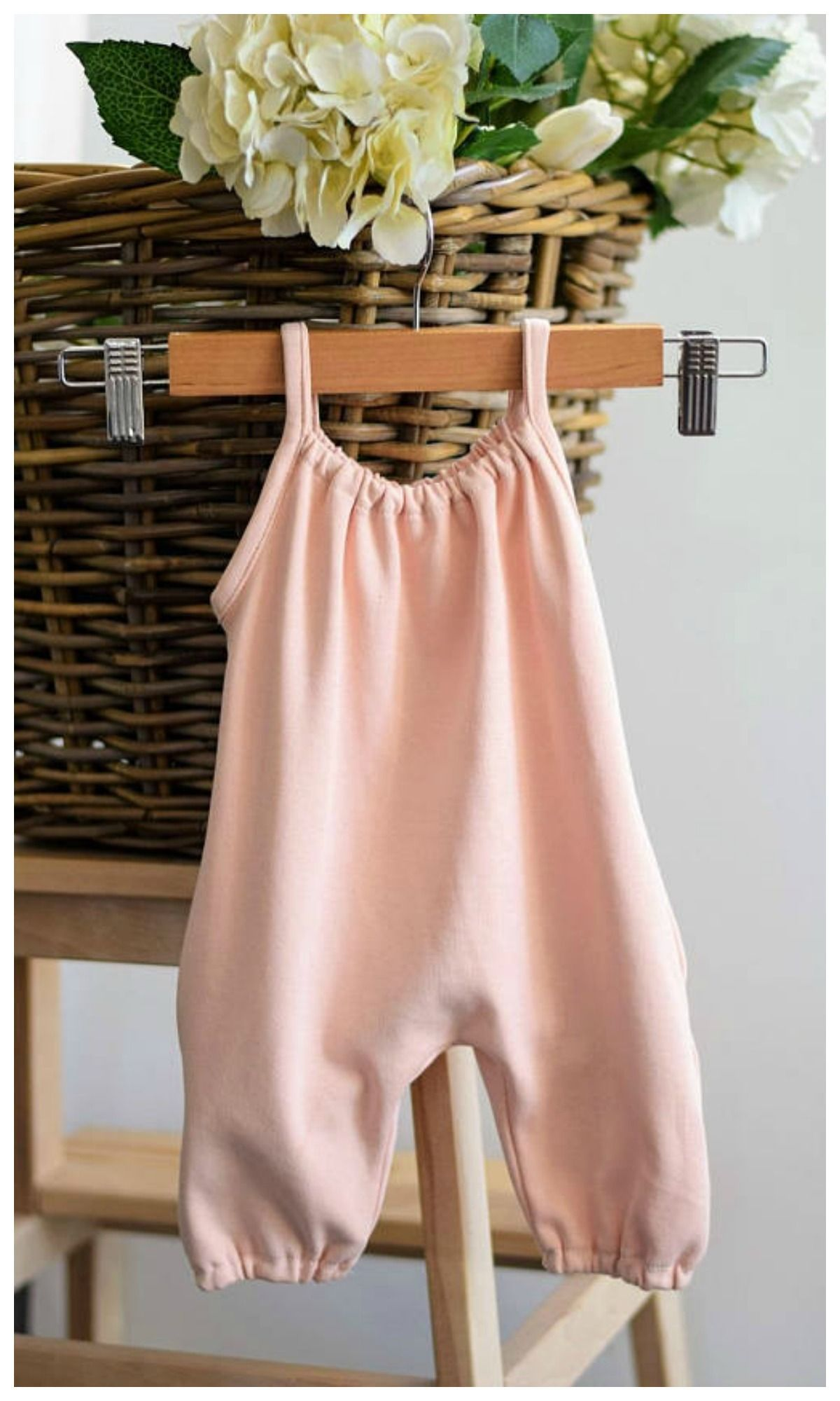 Organic Peach Pink Girls Summer Playsuit