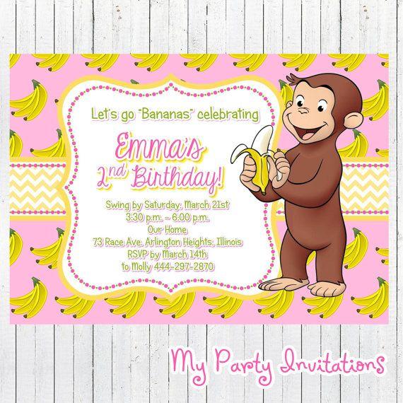 curious george birthday invitation, banana, pink, girl, girly, Birthday invitations