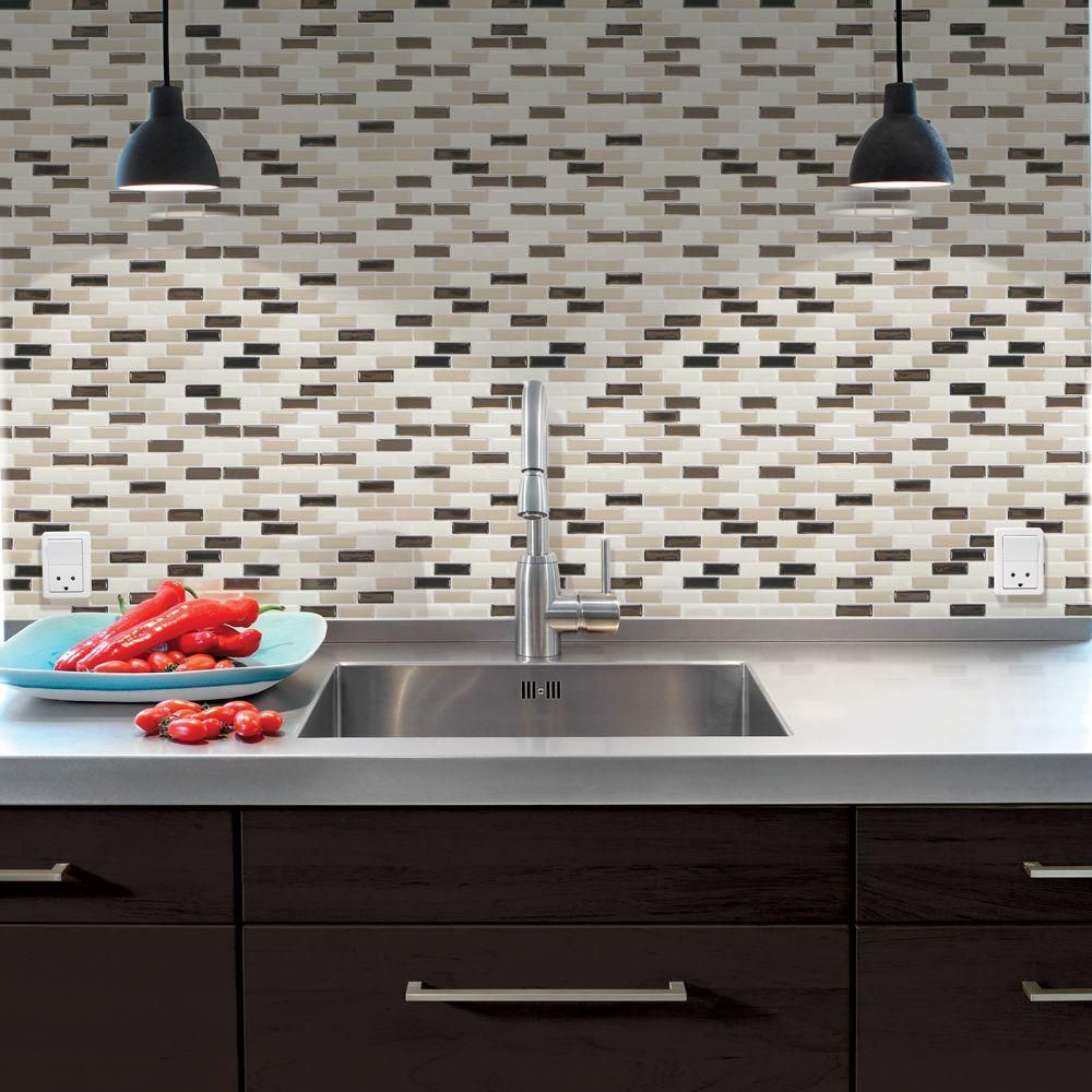 - Smart Tiles 9.13 In. X 10.25 In. Peel And Stick Mosaic Decorative