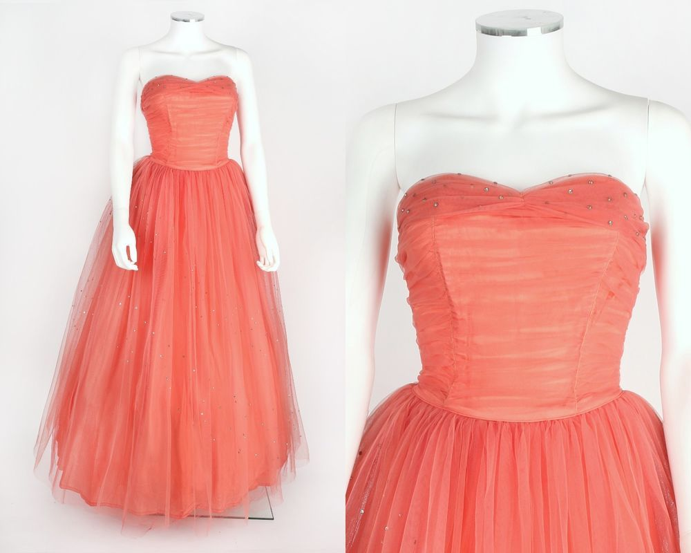 Vtg s pink salmon tulle rhinestone strapless evening prom dress