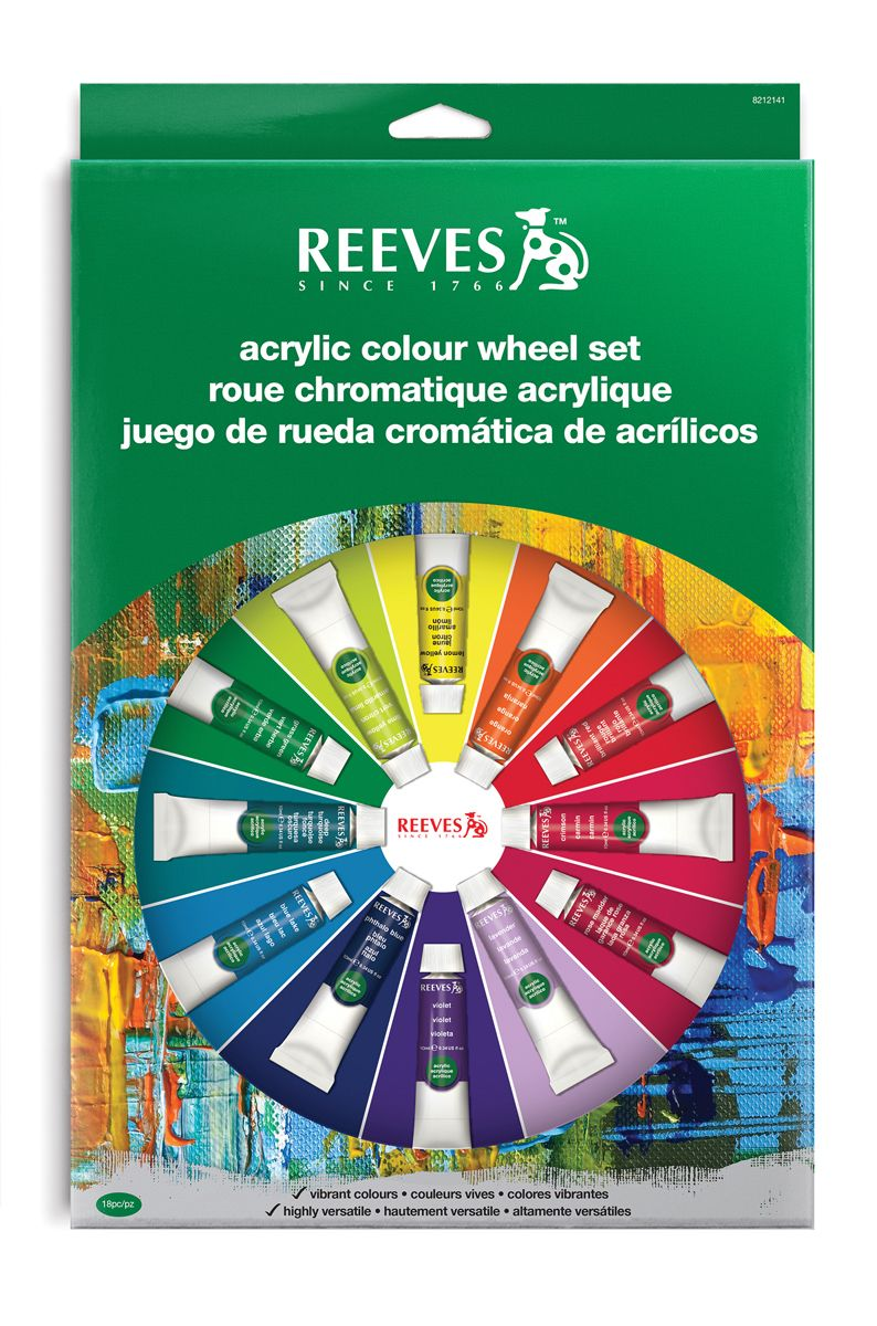 Art Shed Online - Reeves 18 Pc Acrylic Colour Wheel Paint Set ...