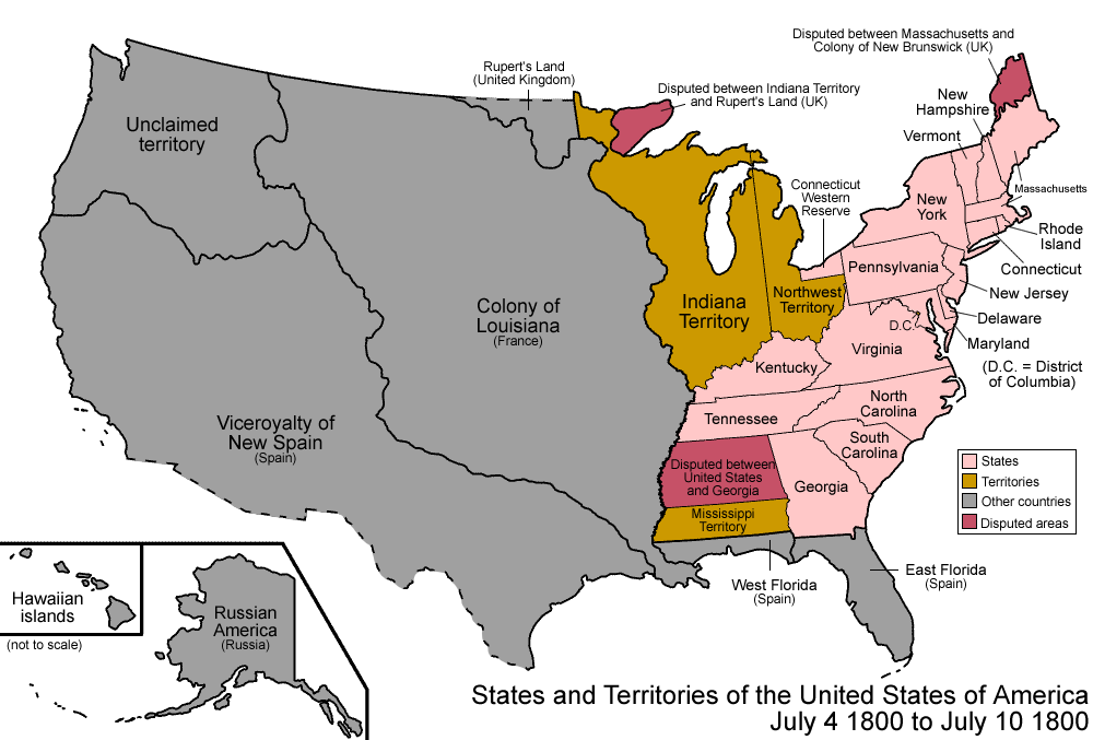 map of united states in the 1800s 1800 united states map | Pinckney's Treaty | Teaching history