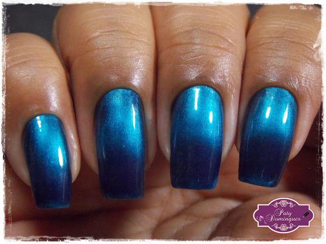 Blue Black - Bruna Marquezine Degradê #esmaltadasdapatydomingues #ludurana #magnetico # BrunaMarquezineDegradê