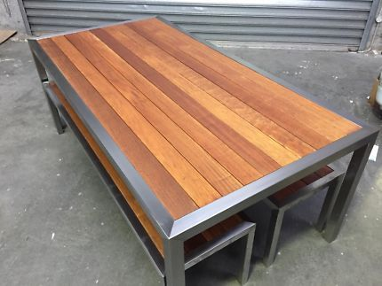 Stainless Steel Outdoor Table With Bench Seats