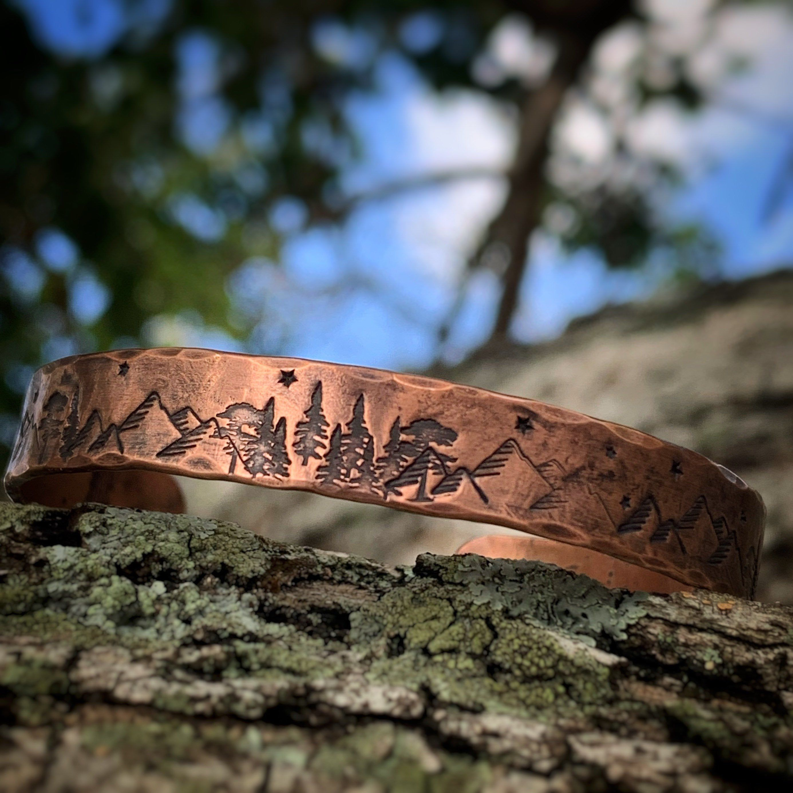 personalized copper cuff bracelet Mountain Bracelet hikers bracelet hiking bracelet mountain climber jewelry