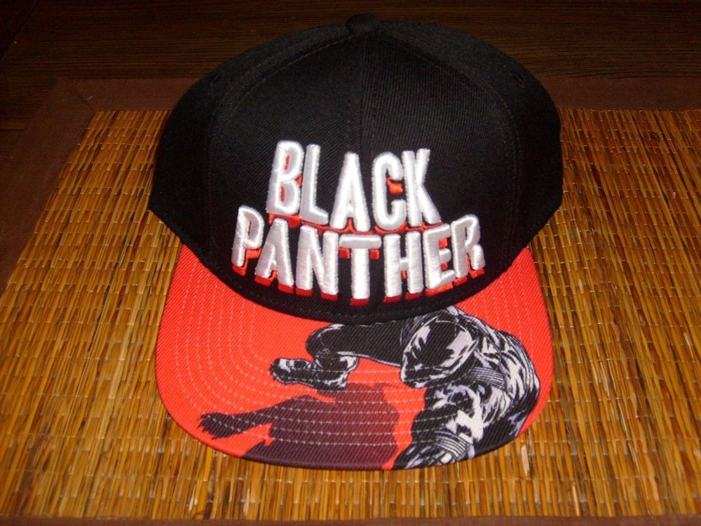 f74111e1e MARVEL BLACK PANTHER SNAPBACK EMBROIDERED BLACK RED HAT FLAT BILL ...