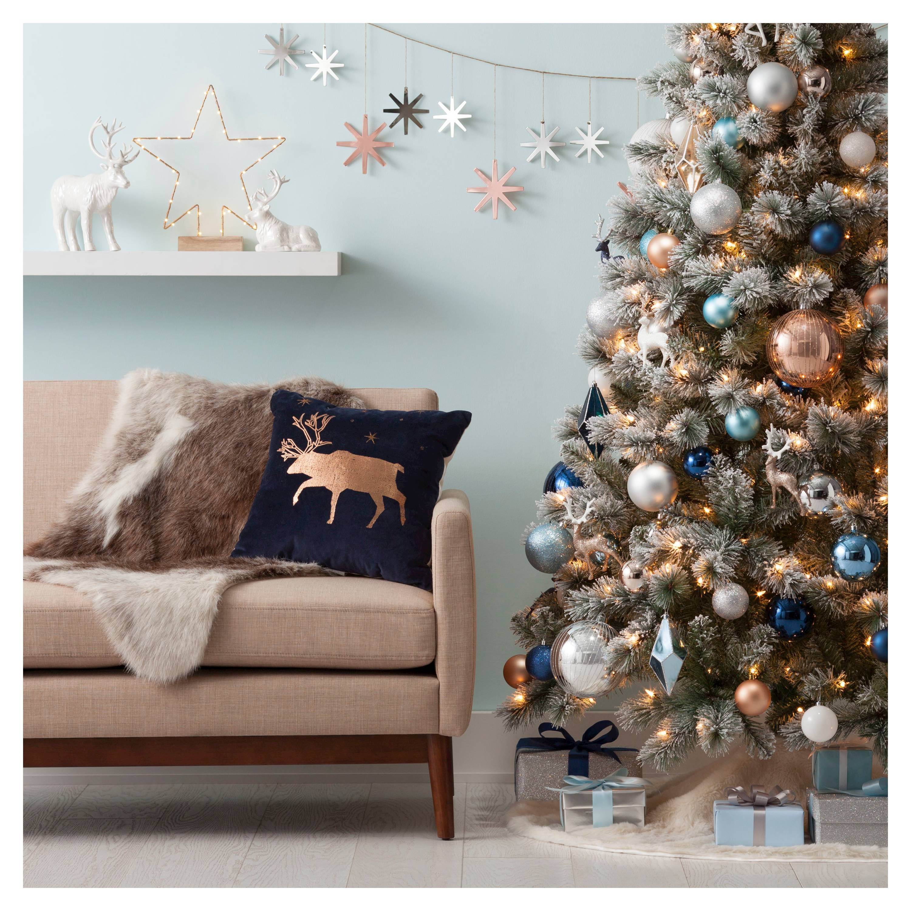 We Must Have Everything From Target S Holiday Collection This Instant Refinery29 Blue Christmas Decor Christmas Apartment Copper Christmas