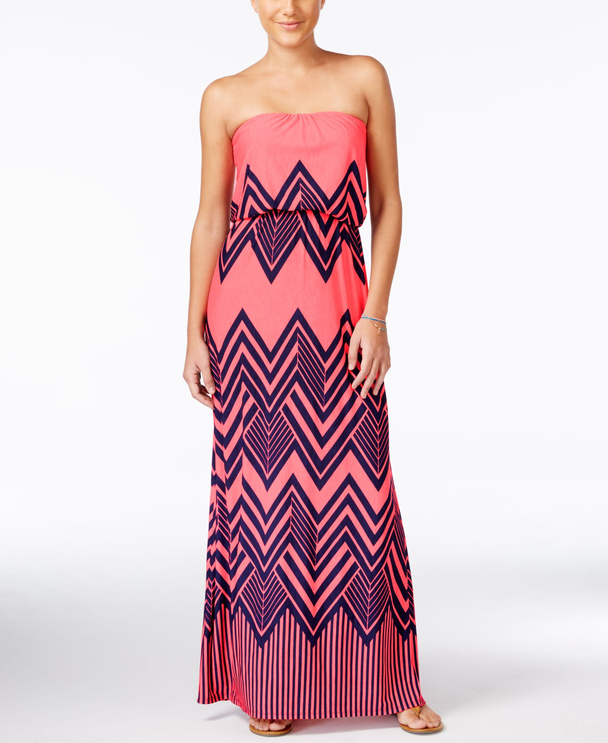 b6650c20aeb Trixxi Juniors  Strapless Printed Maxi Dress