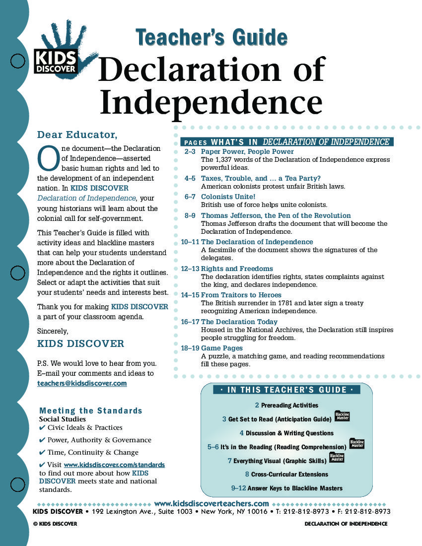 Worksheets Declaration Of Independence Worksheets this free lesson plan for kids discover the declaration of independence provides a roadmap teaching