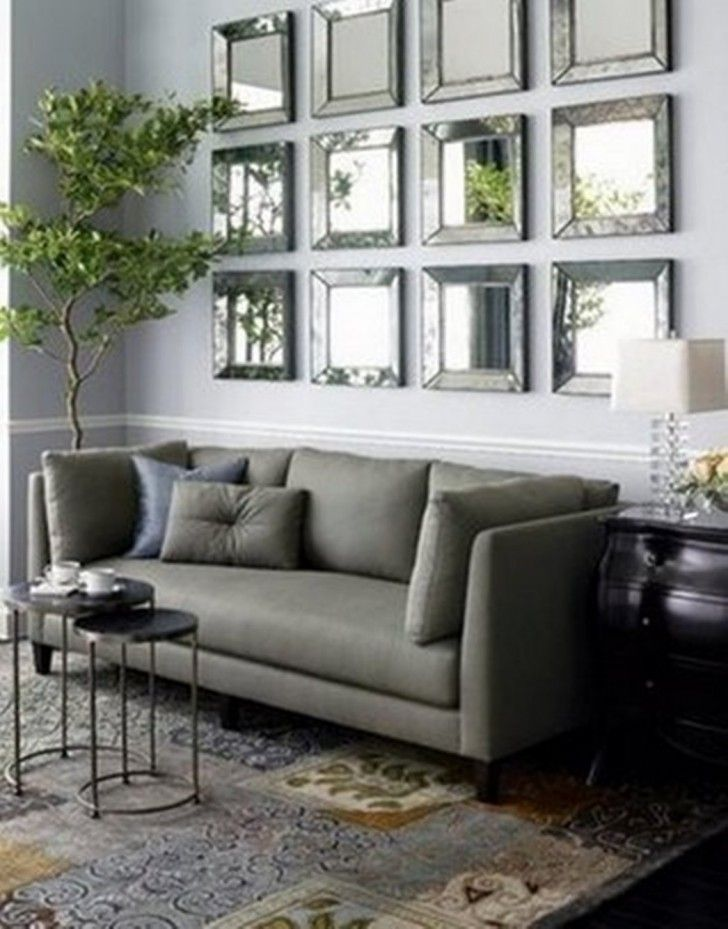 Attractive Living Room Living Room Mirror Wall Square Silver Wall Collage Decorative  Living Room Wall Mirrors Gray Panel Long Sofa Round Black Metal Coffee  Table ...