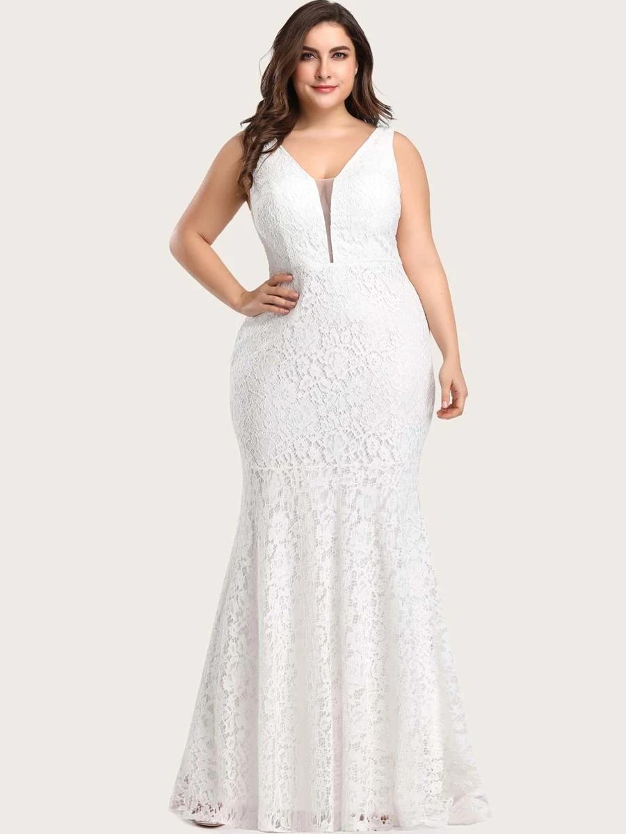 Plus Mesh Insert Mermaid Lace Prom Dress Shein Usa Mermaid Prom Dresses Lace Bridesmaid Dresses Plus Size Wedding Gowns Lace [ 1198 x 900 Pixel ]