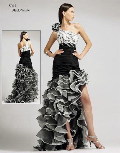 Prom Dress Cocktailkleid Abendkleid Adelinde in Schwarz Weiß Lang ...