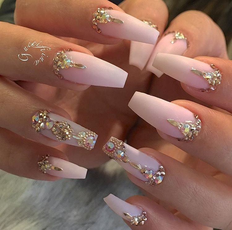 Jewel encrusted, matte, blush pink, coffin shaped nails ✨ | Nailed ...