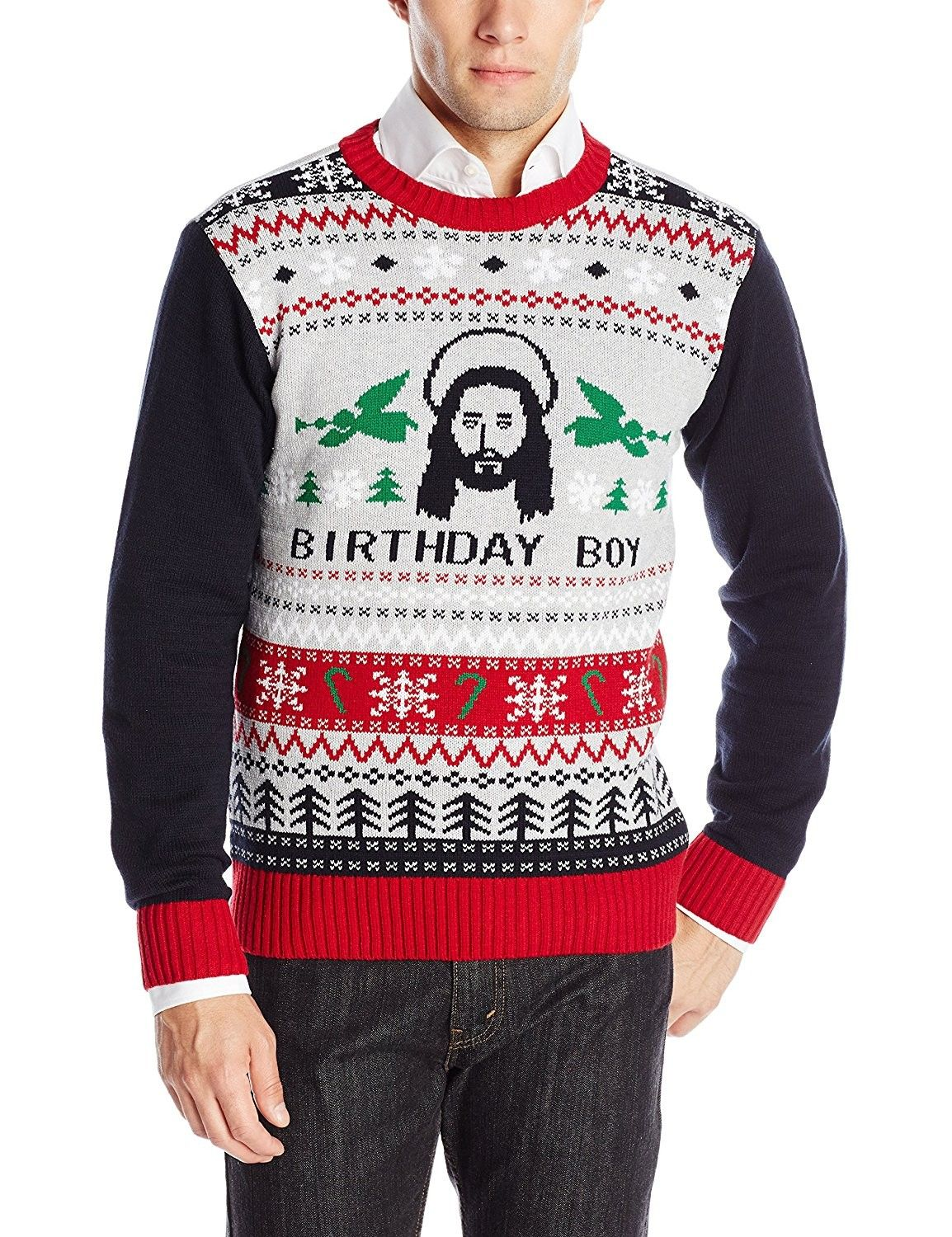 99e3f70dc2 Men's Clothing, Sweaters, Pullovers, Ugly Christmas Sweater Men's Jesus  B-Day Sweater - Silver Heather - CQ1254PT963 #men #fashion #style #shopping  #outfits ...