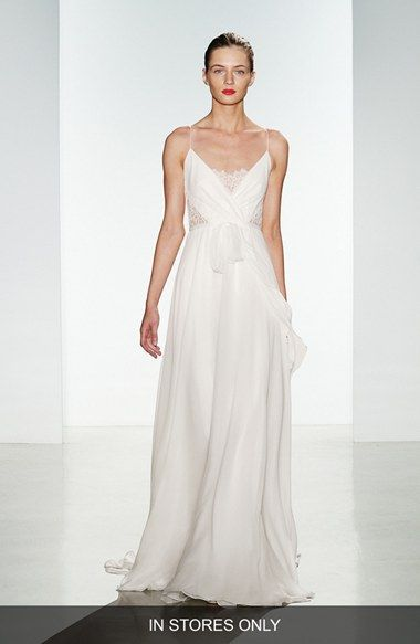Free shipping and returns on Christos Bridal 'Tinsley' Silk Chiffon & Lace Spaghetti Strap Gown (In Stores Only) at Nordstrom.com. This wedding gown can't be purchased online but is available for special order in our in-store Wedding Suites. Special orders ship within 8–16 weeks. Please call 1.888.300.1295 to find a Wedding Suite near you or Book an appointment online.Ethereal and romantic, a silk chiffon gown inset with gorgeous Alençon lace at the bodice drifts down from barely ...
