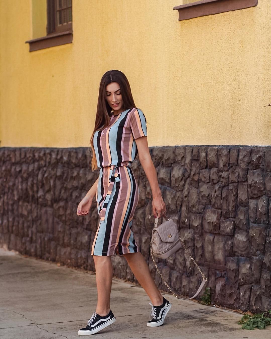 7e873759a4 vestido comfy listrado + tênis vans | tudinho | Vestidos, Vestidos ...