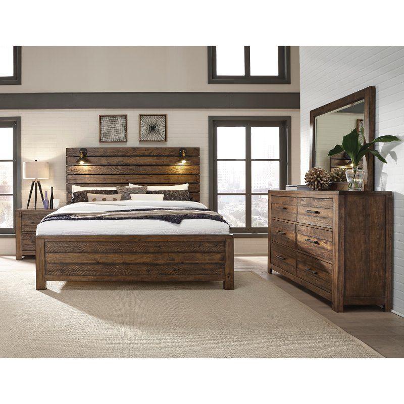 Reclaimed Modern Brown 4 Piece Queen Bedroom Set - Dakota ...