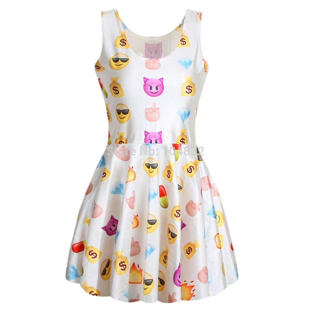 2015 Fashion Cute Emoji Girls Dress Women Sleeveless Summer Dress | Summer dresses Girls ...
