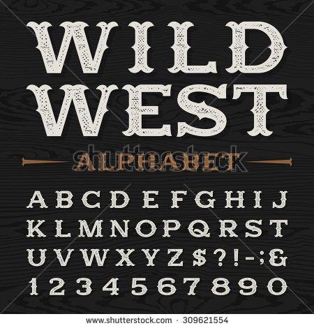 Western style retro distressed alphabet vector font. Serif ...