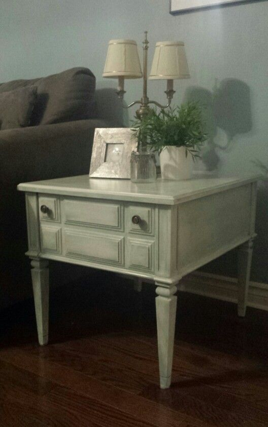 Painted End Table Two Tone Antique Finish