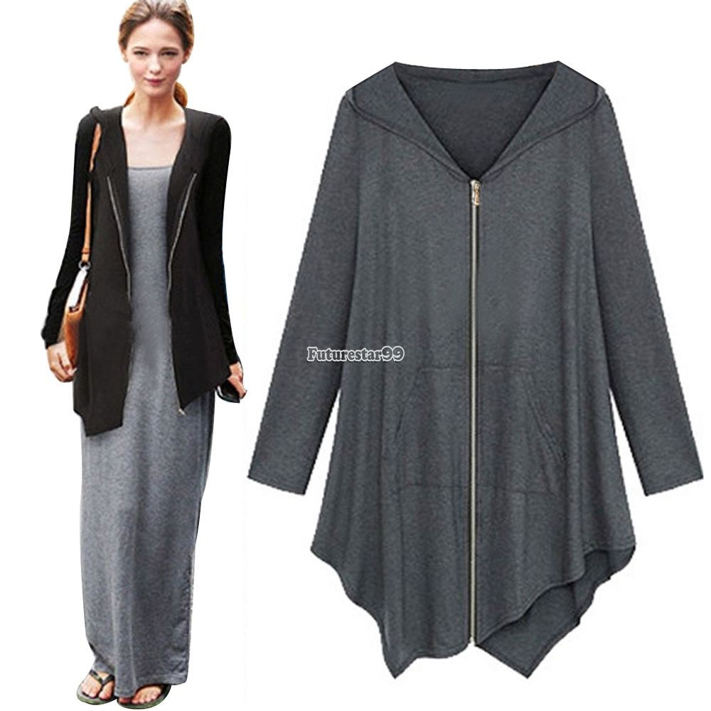 New Women irregular Zip Long Hoodie Jacket Coat cape. 1 x Coat. Hint for choosing proper size: Use similar clothing to compare with the size. Hint for choosing proper size Use similar clothing to compare with the size.