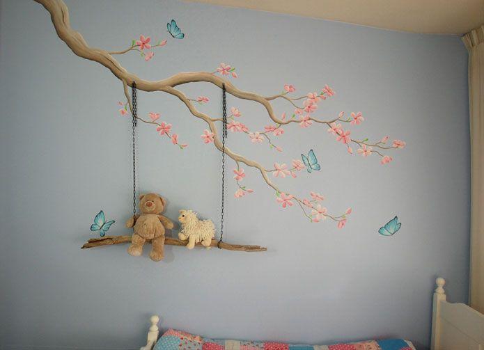 Schommel In Kinderkamer : Bloesemtak muurschildering met echte schommel gemaakt door bim