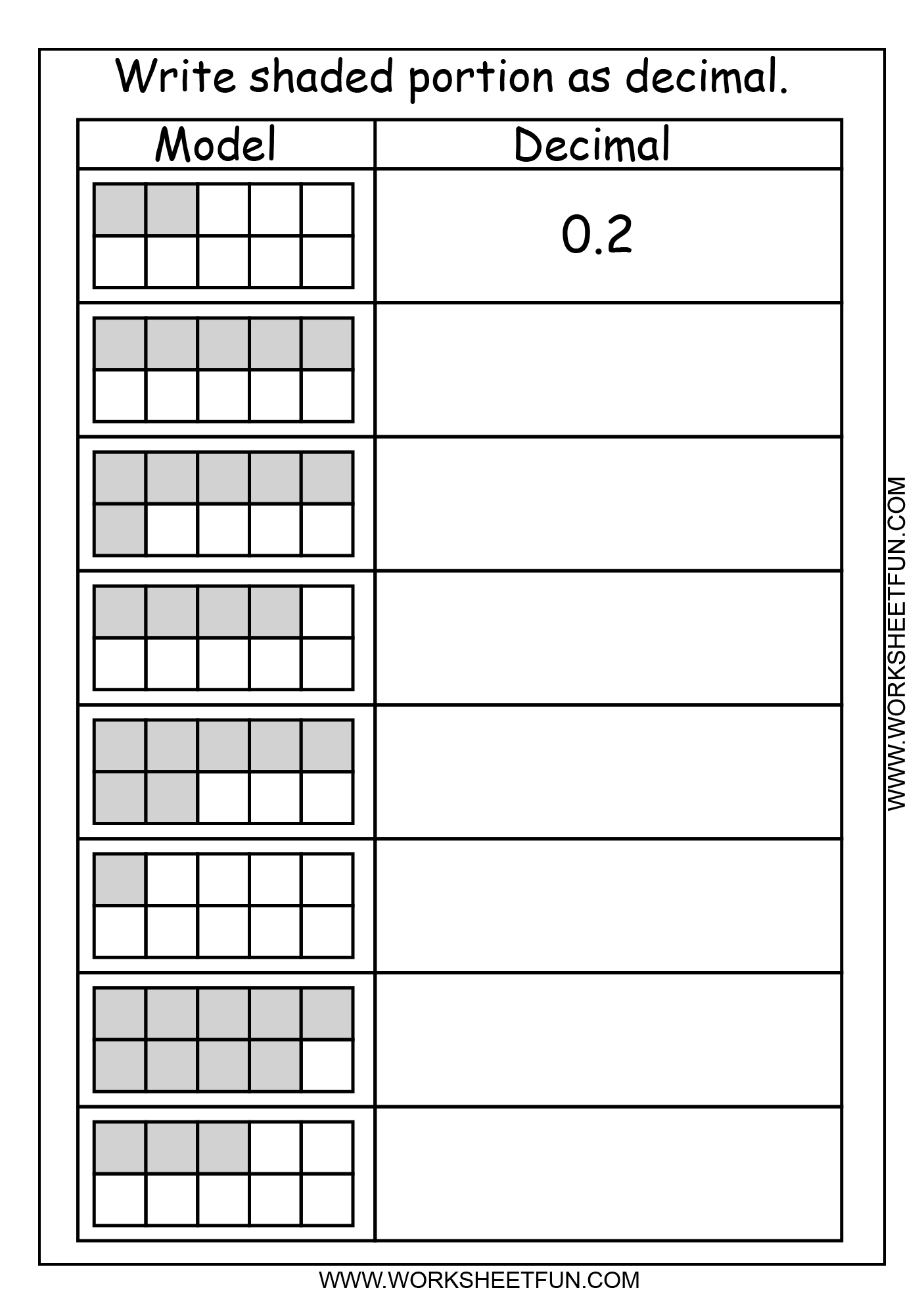 Decimal Model Tenths 2 Worksheets