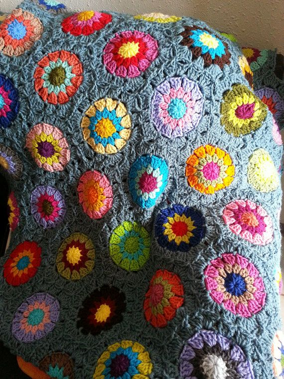Colorful Hexagon Afghan Blanket Traditional by MaybeLemon on Etsy ...