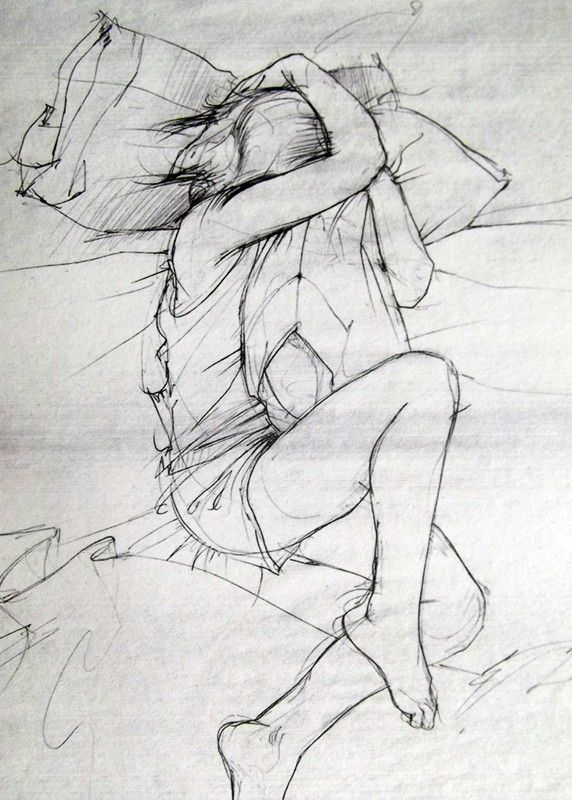 8x10 the science of missing you fine art print delicate gray drawing of a girl and her pillow