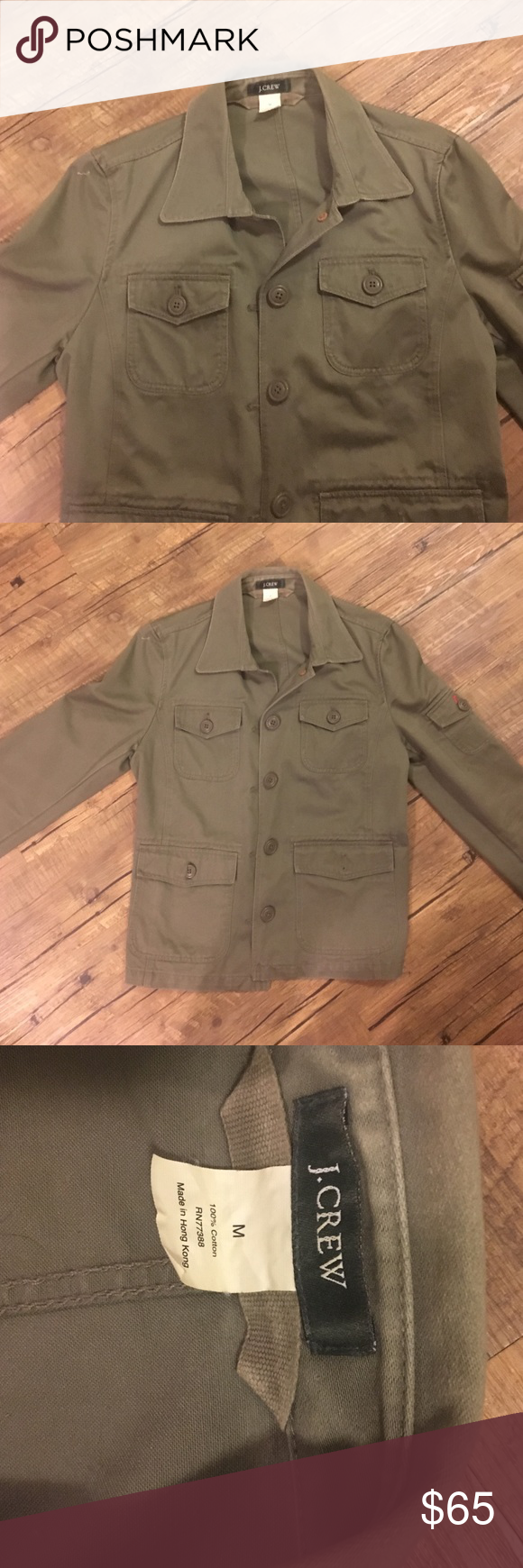 J. Crew Military Jacket Super cute and in great condition army green jacket. Comes from non-smoking household. No trades please, but offers and bundles are welcomed :) J. Crew Jackets & Coats