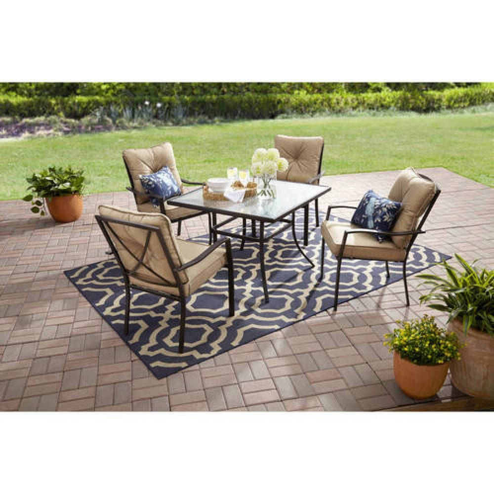 Patio Dining Set 5 Piece Tan Tempered Glass Table Top Cushioned