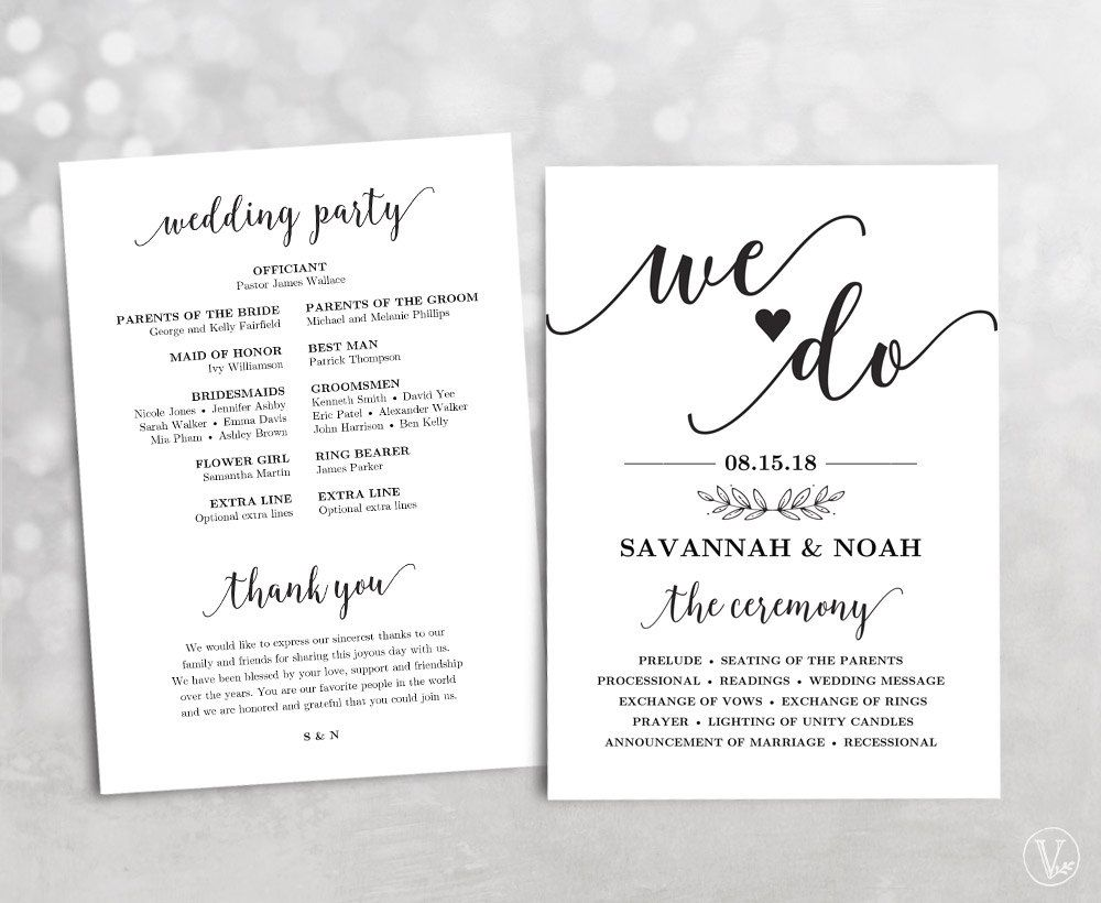 Printable Wedding Program Wedding Program Template DIY Program