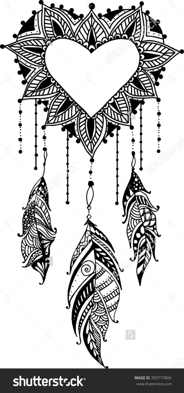 Hand-Drawn Heart Mandala Dreamcatcher With Feathers