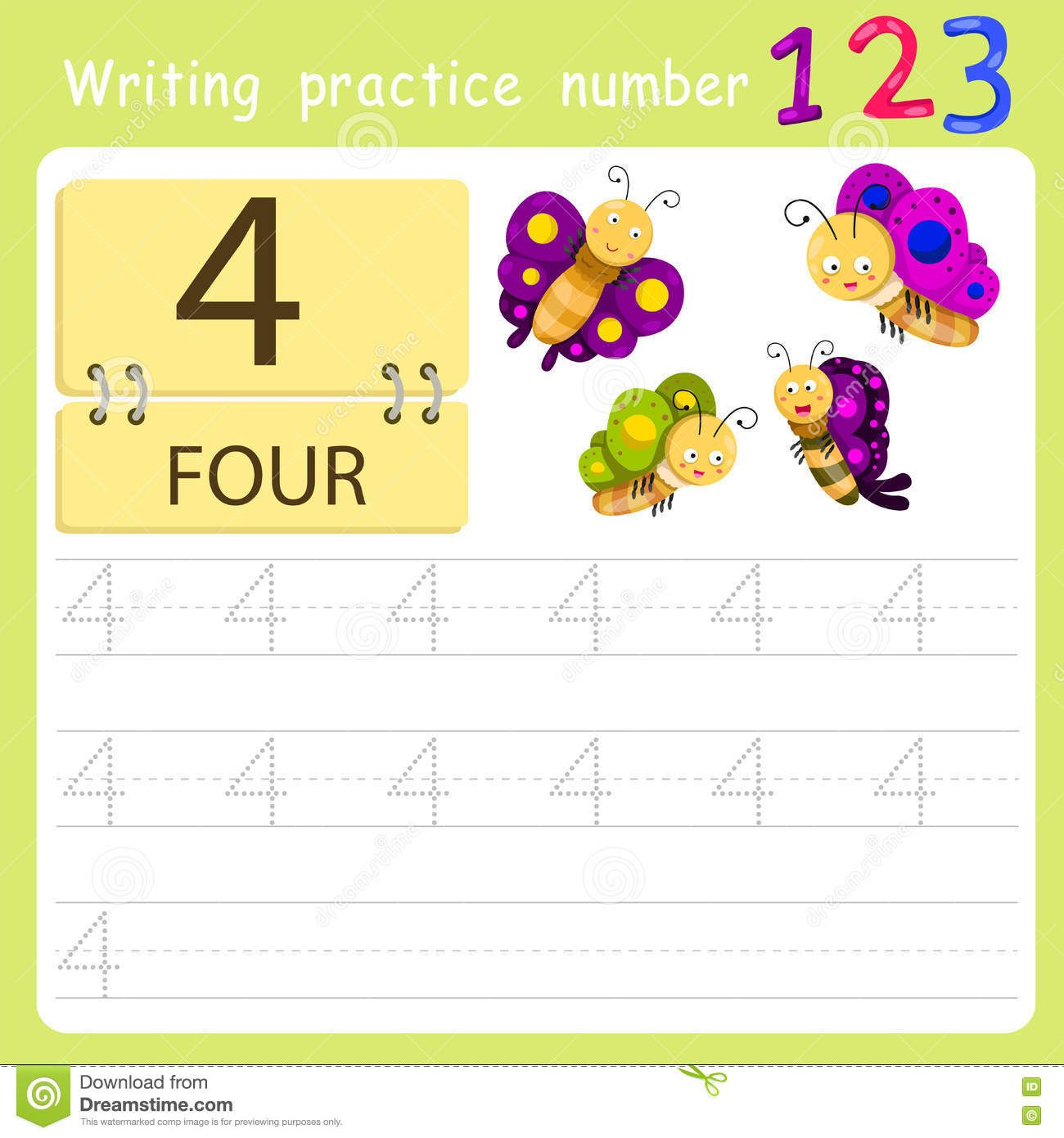 Worksheet Writing Practice Number Four Stock Vector Image 78960785 Writing Practice Writing Worksheets [ 1390 x 1300 Pixel ]