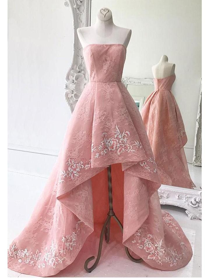 High-Low Prom Dresses Pearl Pink Strapless Asymmetrical Lace Long ...