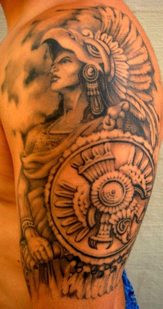 30 Aztec Inspired Tattoo Designs For Men Warrior Tattoos Warrior Tattoo Aztec Tattoo Designs