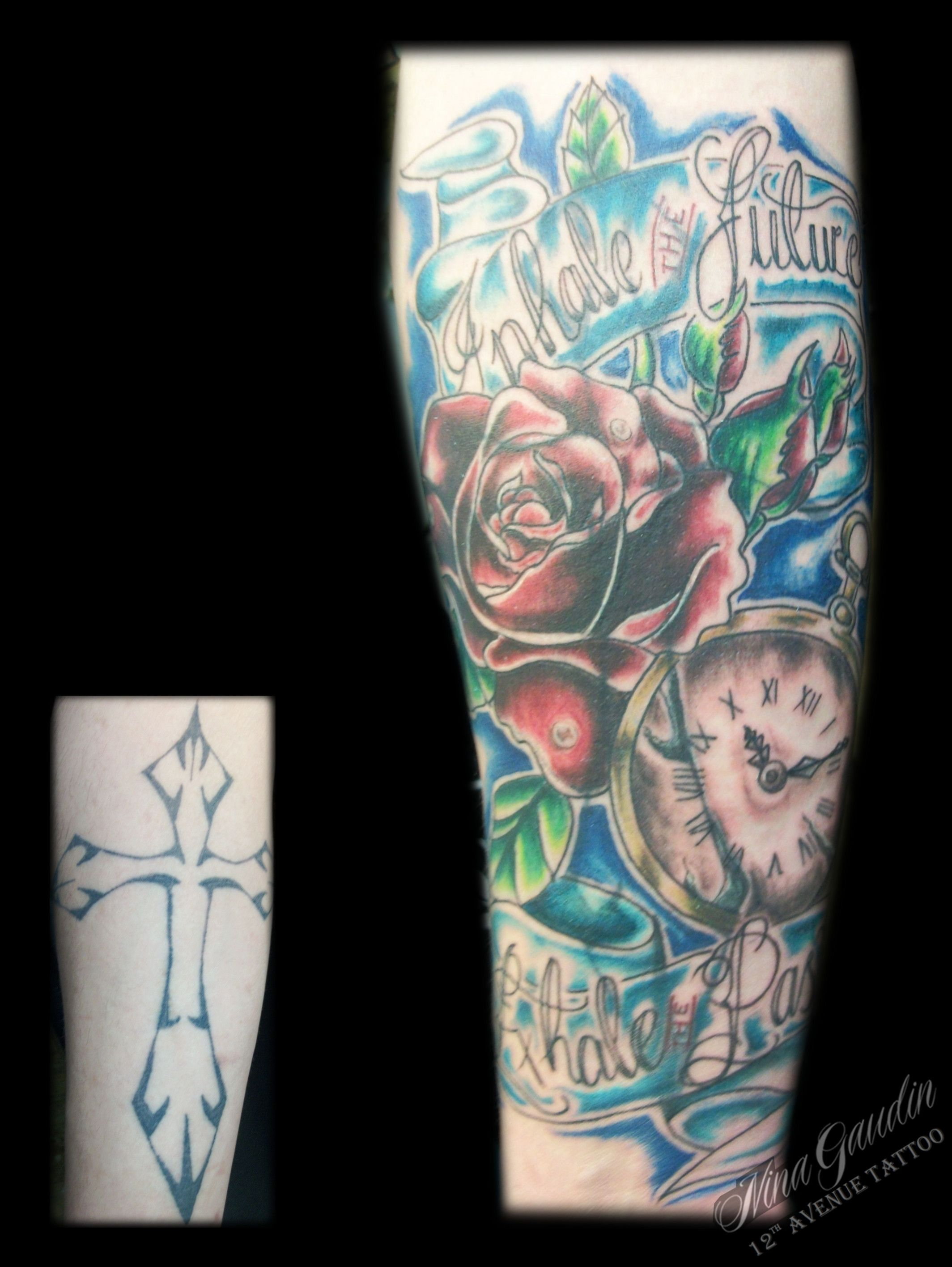 1d87f7df9fd6b Rose, pocket watch, and banner - Inhale Future Exhale Past - color forearm Cover  Up - Tattoo by Nina Gaudin of 12th Avenue Tattoo in Nampa, ID