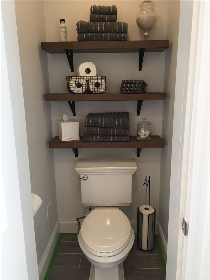 Photo of Storage idea for small bathroom w/ lighter wood to match butcher block? #bathroomstorageshelves