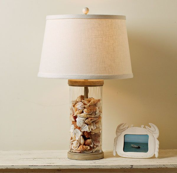 Awesome Beach Glass Lamps Filled  Bright Decorating Idea For Beachcombers