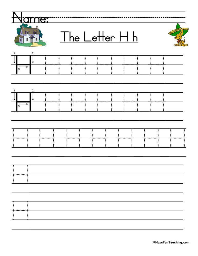 Letter H Handwriting Practice Worksheet Handwriting Practice Worksheets Handwriting Practice Kindergarten Worksheets Printable