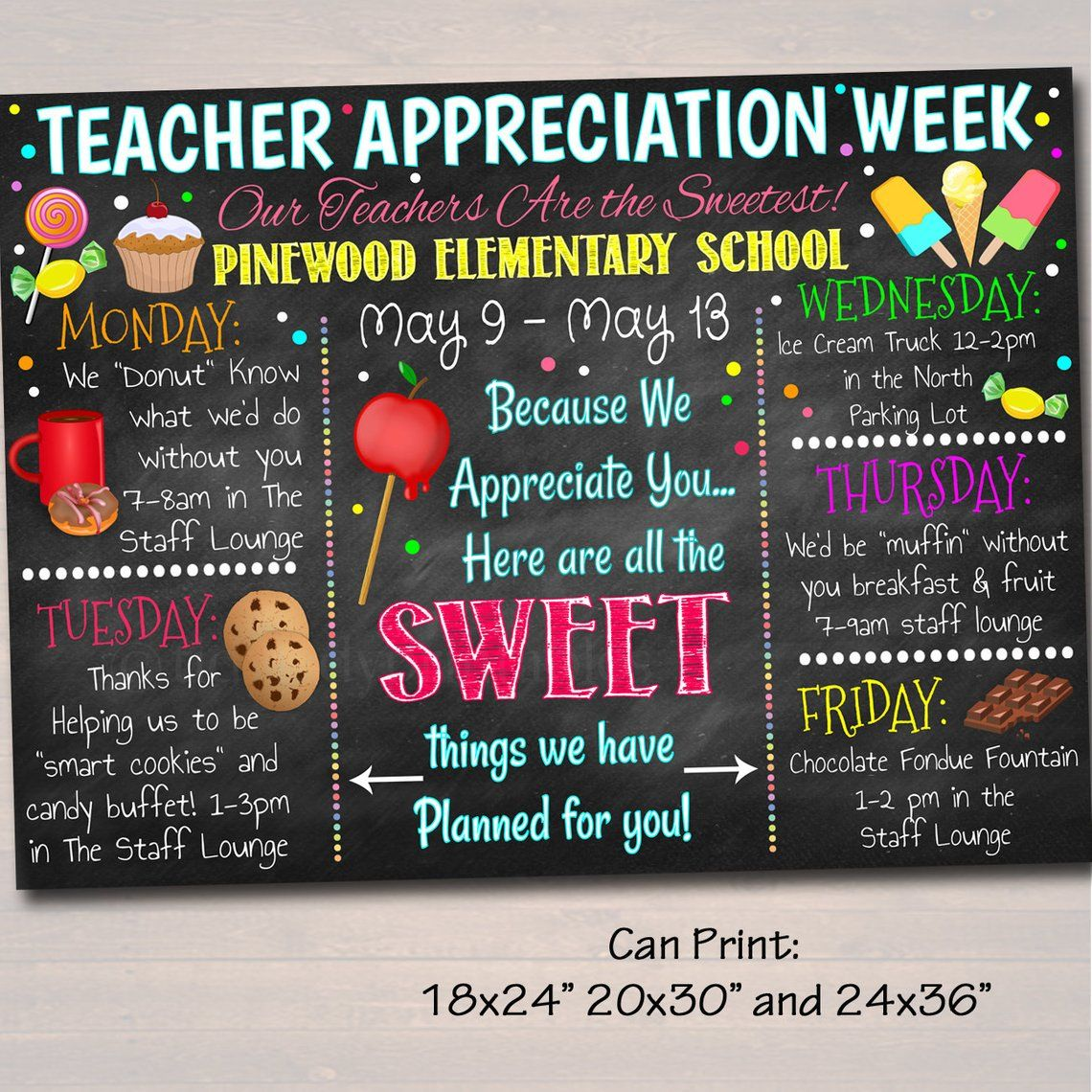 Editable Candy Sweet Theme Teacher Appreciation Week Itinerary Poster Digital Schedule Events