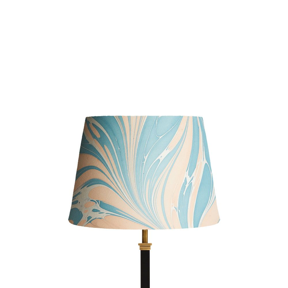 30cm Straight Empire Shade In Hand Made Marbled Paper In Blue And Pink Mera Patterned Lampshades Marble Paper Paper Lampshade