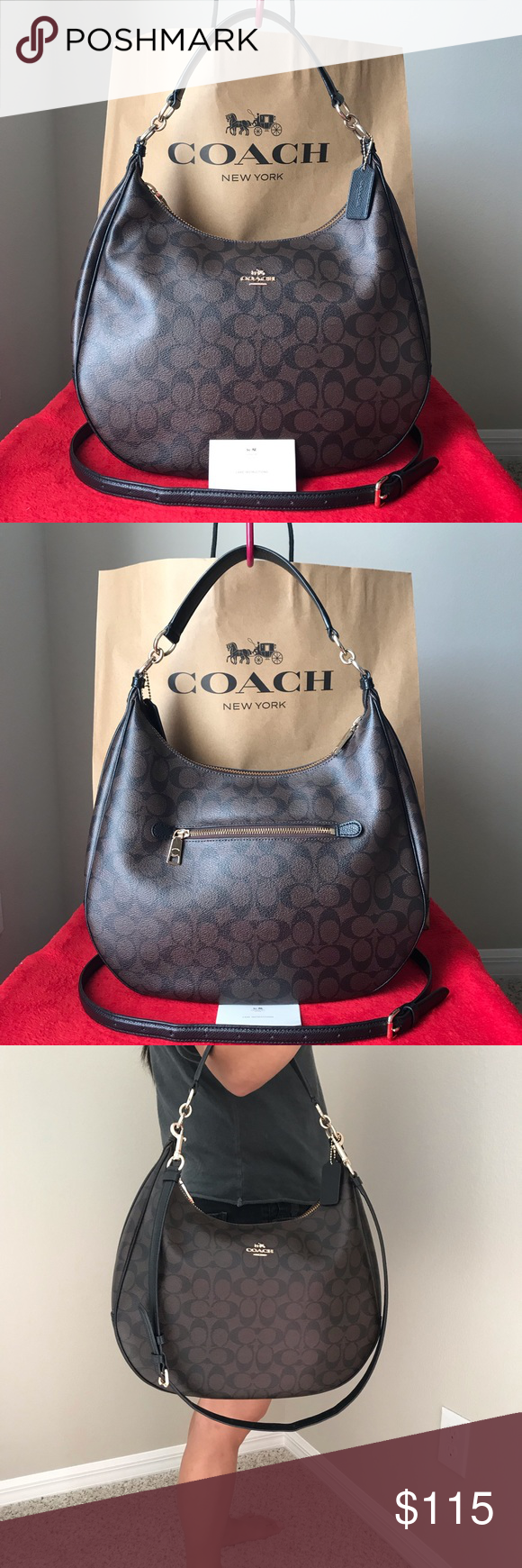 0932524387 ✅✅Coach Purse✅✅ Coach F38300 Harley Hobo Signature Brown / Black **This  model has the serial number on white cloth path inside the pocket as shown  in ...