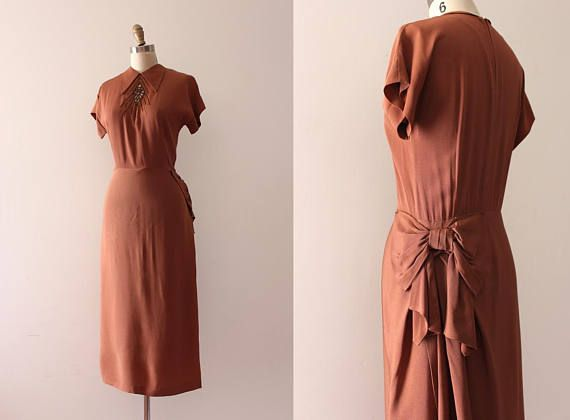 Vintage 1940s rayon dress // 40s rusty brown beaded evening dress ...