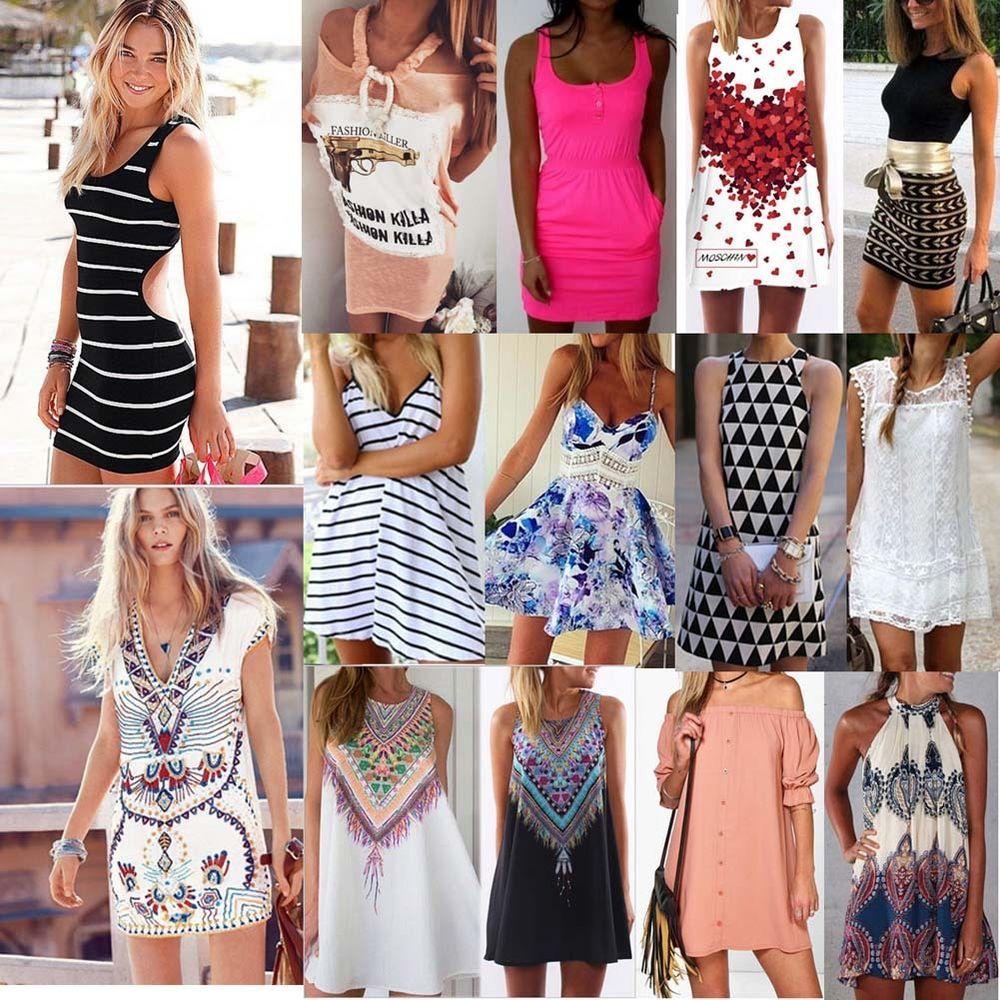 Dresses Women Evening Boho Sundress Beach Party Maxi Dress Summer Cocktail Short